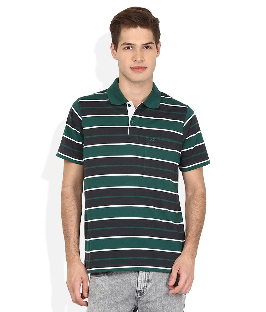 Proline Green Striped Polo T Shirt