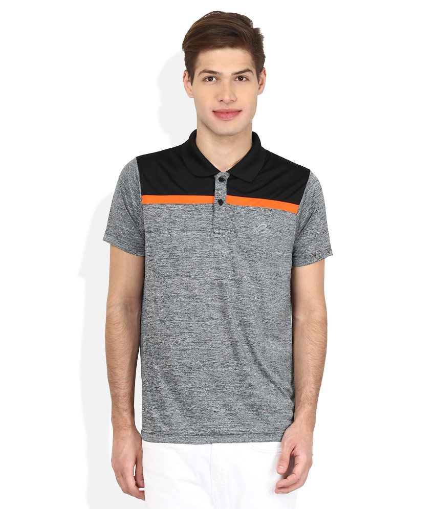 Proline Gray Solid Polo T Shirt