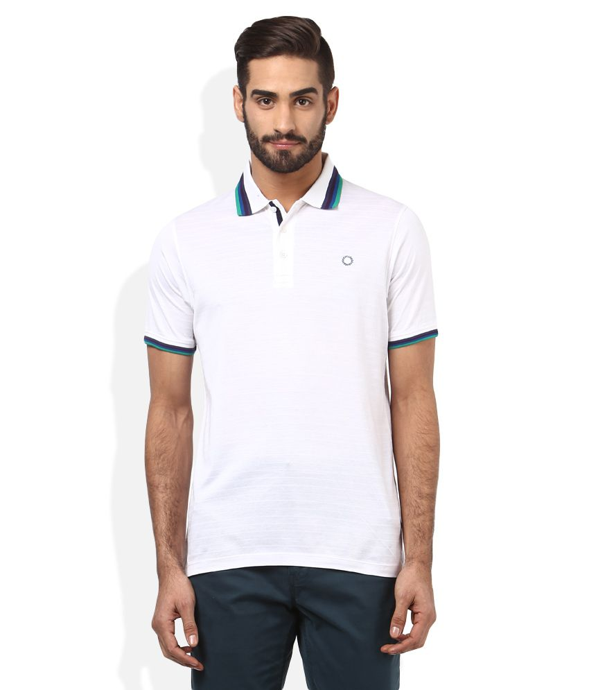 Proline White Solid Polo T Shirt