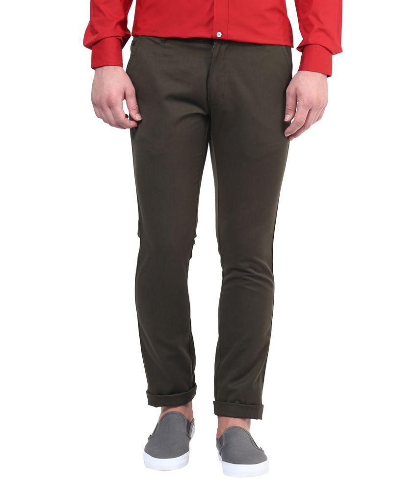 BUKKL Green Slim Flat Trouser