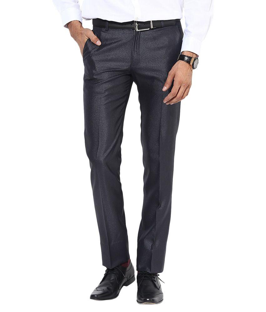 Bukkl Slim Fit Dark Blue Formal Trousers