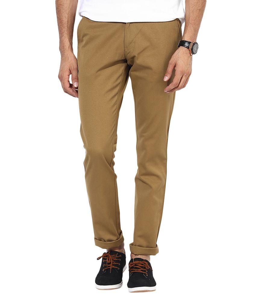 BUKKL Khaki Slim Flat Trouser