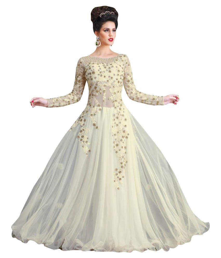 6a2e02ed0 Kaizen International Off White Net Gowns - Buy Kaizen International Off  White Net Gowns Online at Best Prices in India on Snapdeal