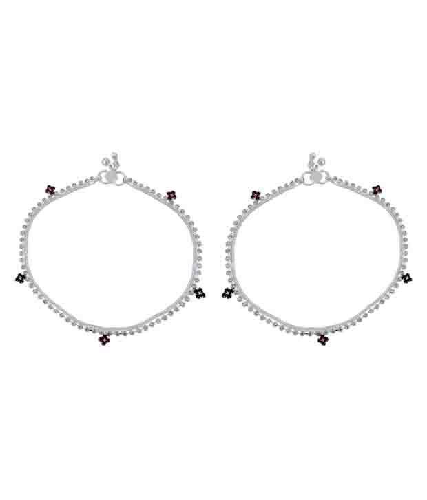 Kauberi Jewels Silver Pair of Anklets