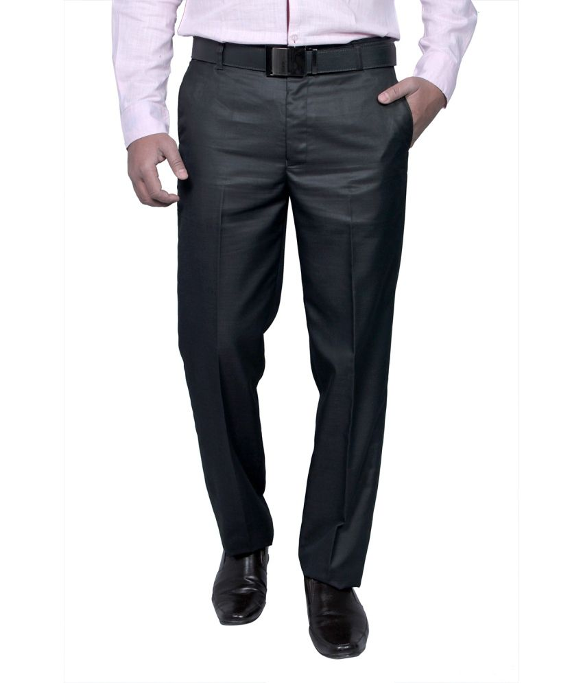 Routeen Black Slim Fit Formal Pleated Trousers