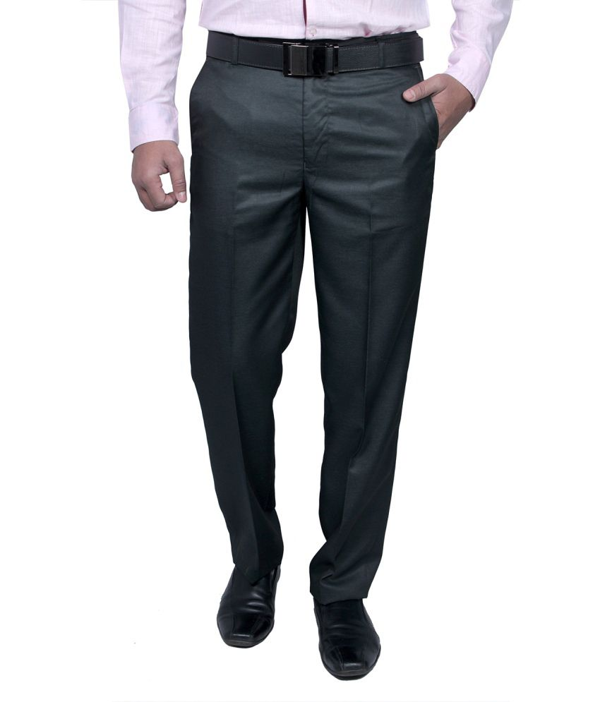 Routeen Blue Slim Fit Formal Pleated Trousers