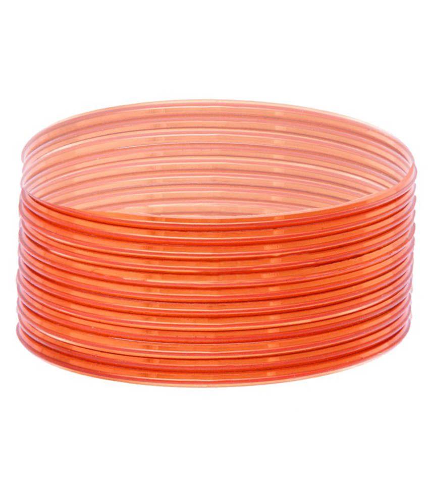 Srag India Orange Glass Bangle Set - Pack Of 24