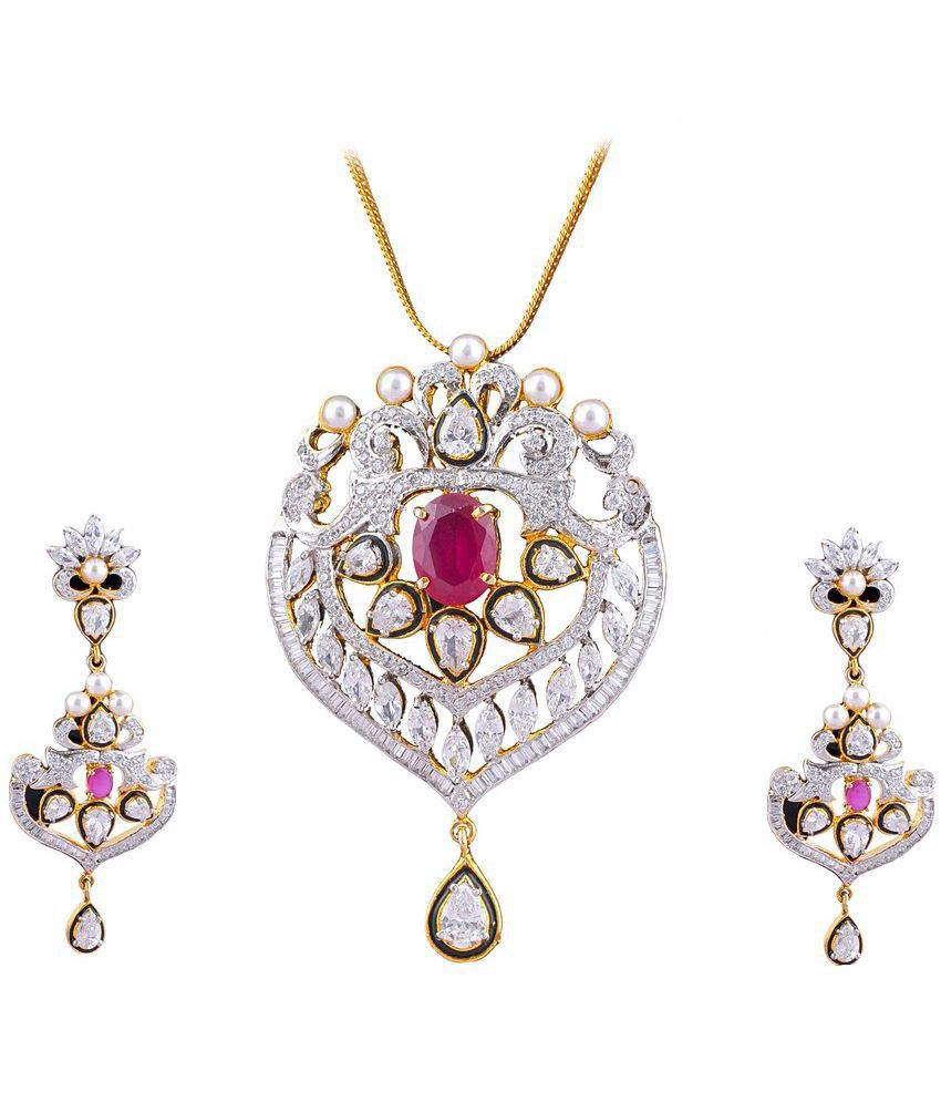 Dreamship Red Alloy Pendant And Earring Set