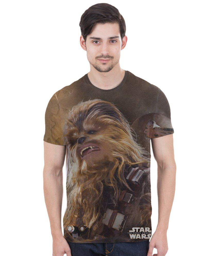 Freecultr Express Brown & Beige Chewbacca in Action Printed T Shirt