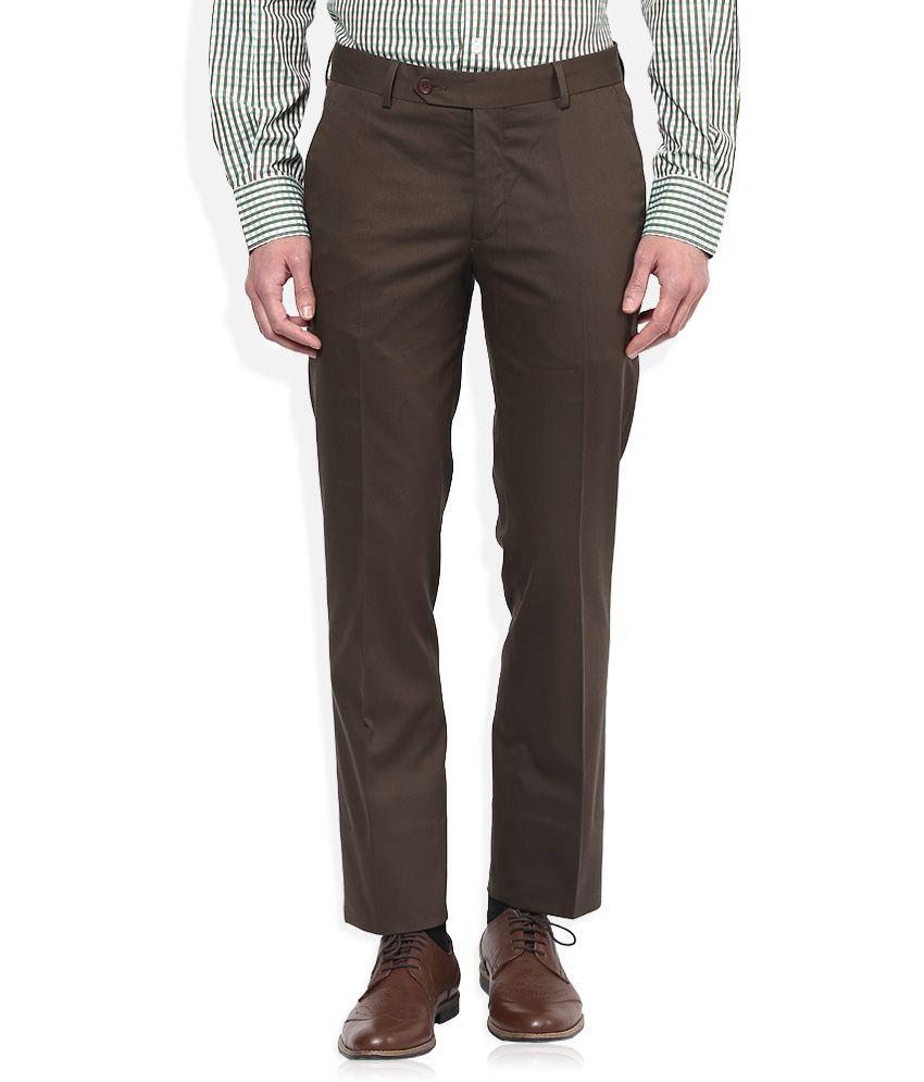 John Players Brown Slim Fit Formal Trousers