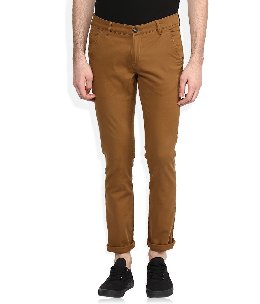 John Players Brown Solid Chinos