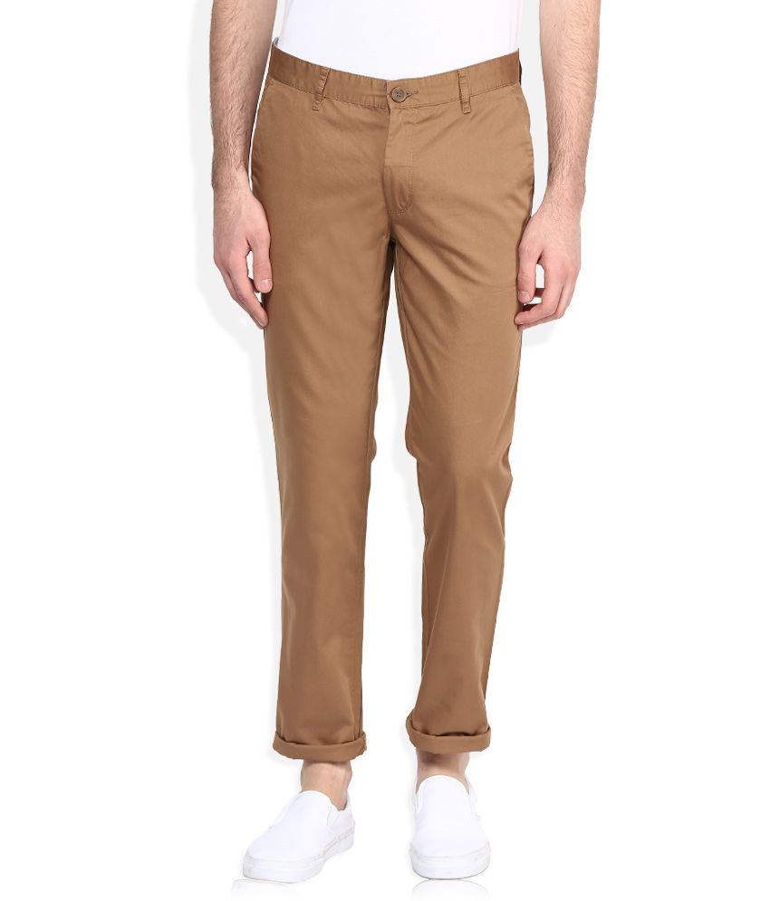 John Players Brown Slim Fit Casual Trousers