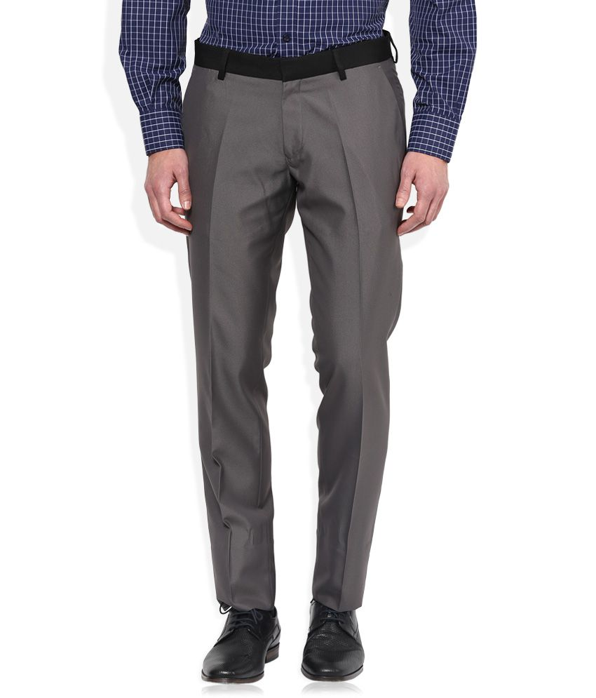 John Players Grey Slim Flat Trouser
