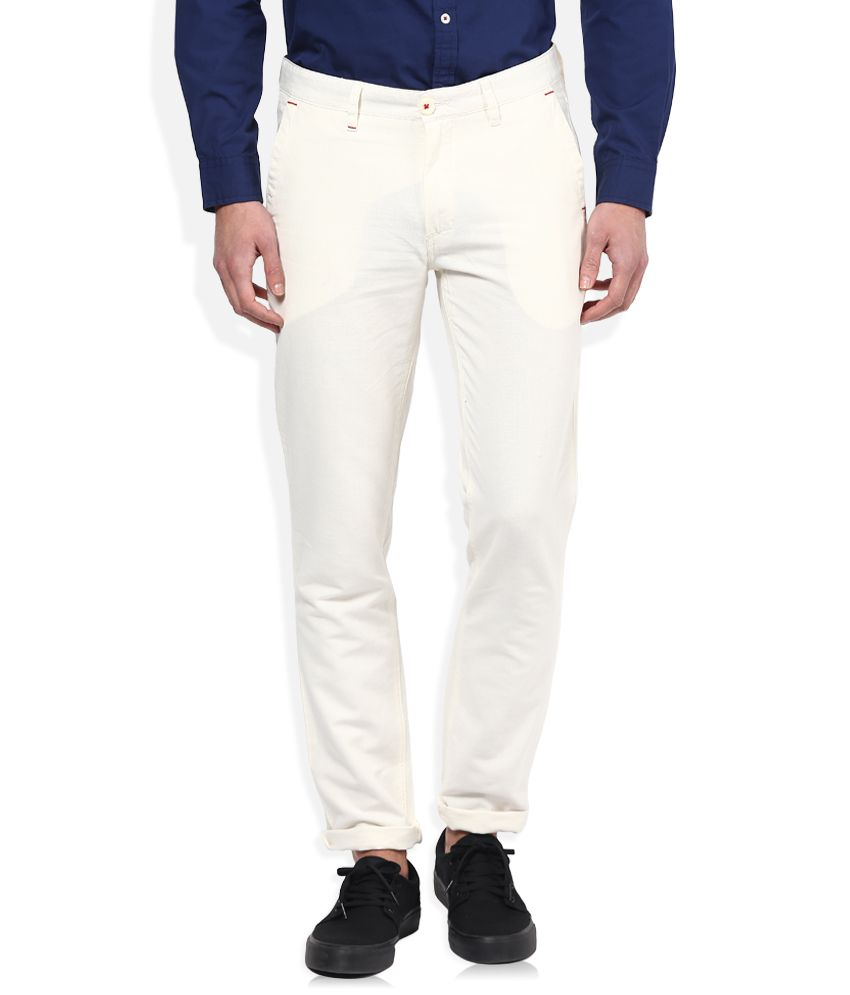 John Players White Slim Fit Casual Trousers