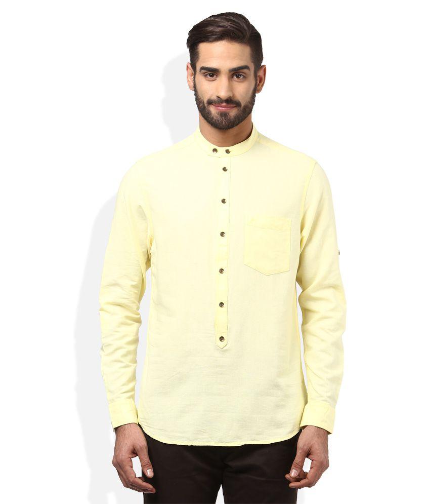 John Players Yellow Slim Fit Linen Shirt