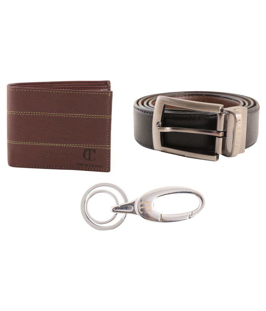 Tie & Cuffs Brown Reversible Belt, Wallet And Key Ring For Men - Set Of 3