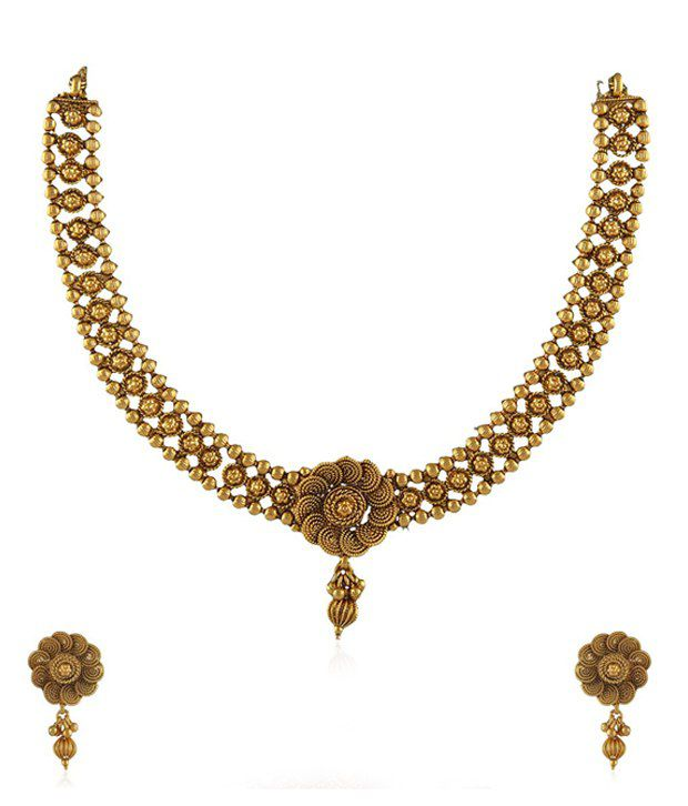 Anuradha Art Golden Alloy Necklace Set