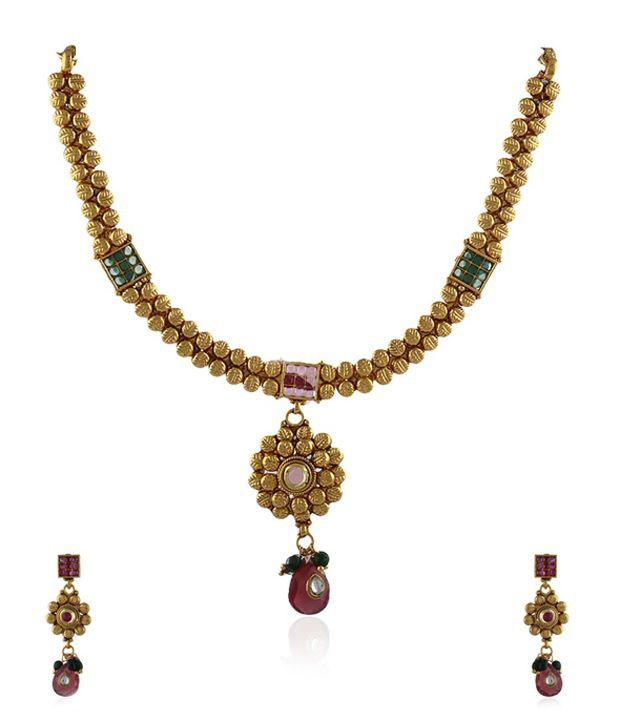 Anuradha Art Pink Alloy Necklace Set