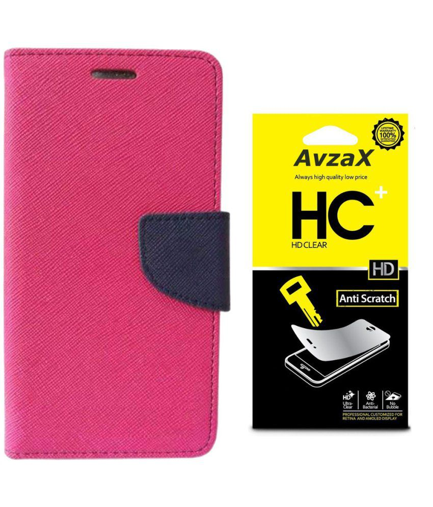Avzax Flip Cover For Sony Xperia C3 - Pink With Screen Guard