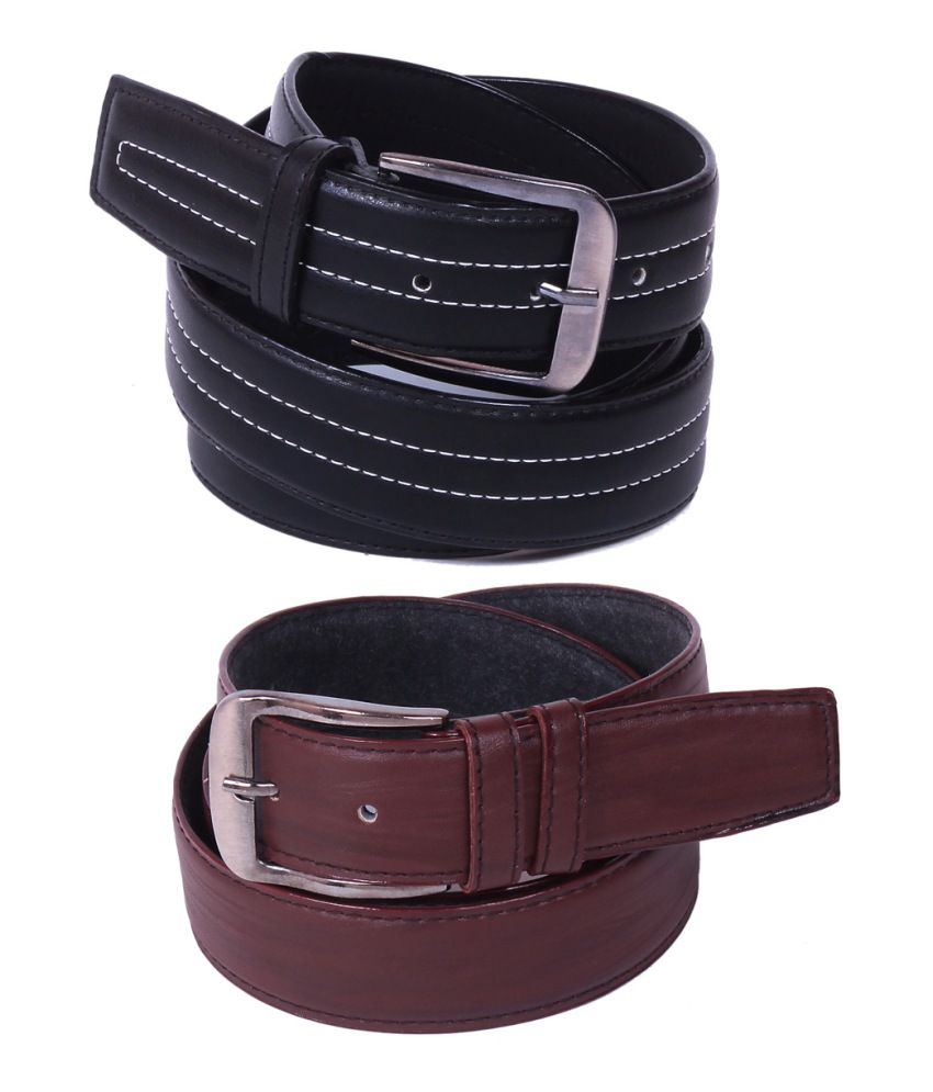 Calibro Combo of Black and Brown Non Leather Belts