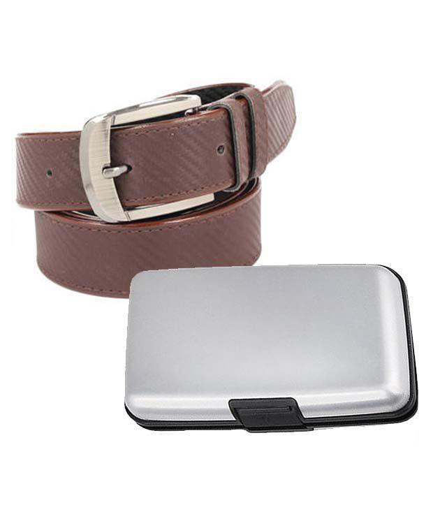 Daller Combo Of Brown Casual Belt & Card Holder for Men