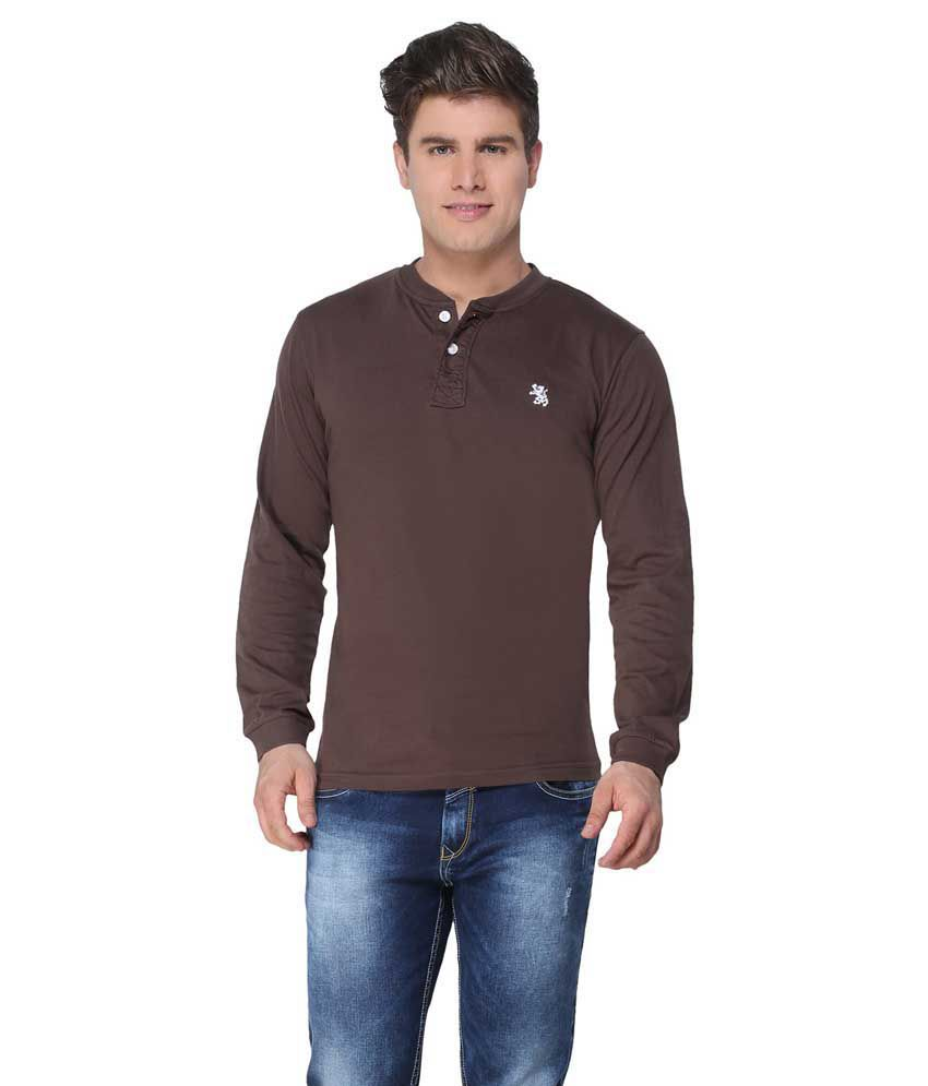 The Cotton Company Brown Cotton T-shirt