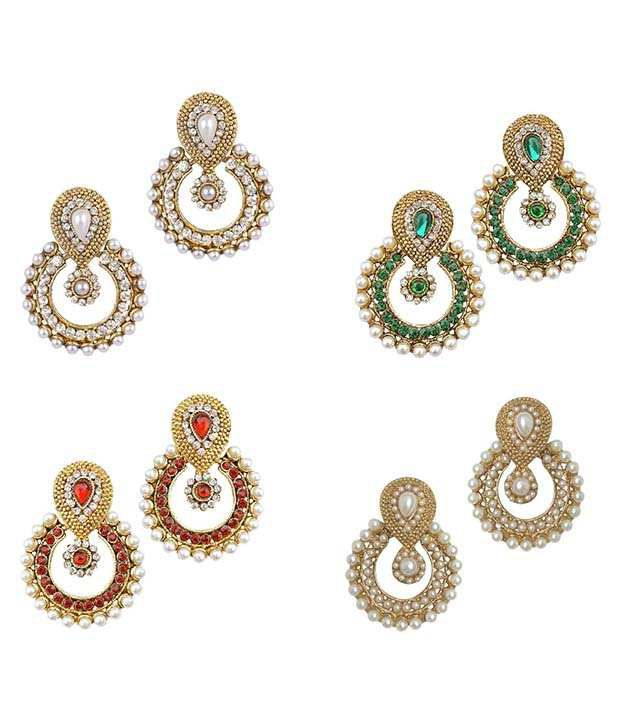 Youbella Multicolor Alloy Chandbali Earrings - Combo Of 4