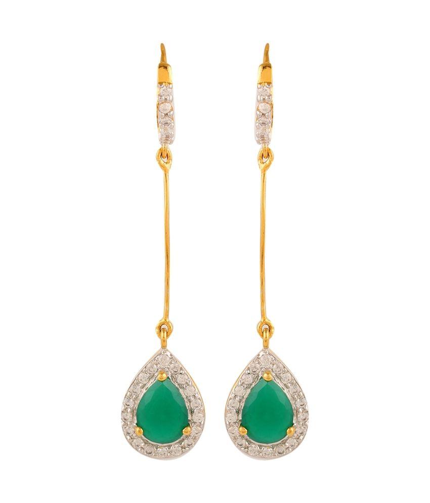 Adwitiya Collection Green Brass Drop Earrings