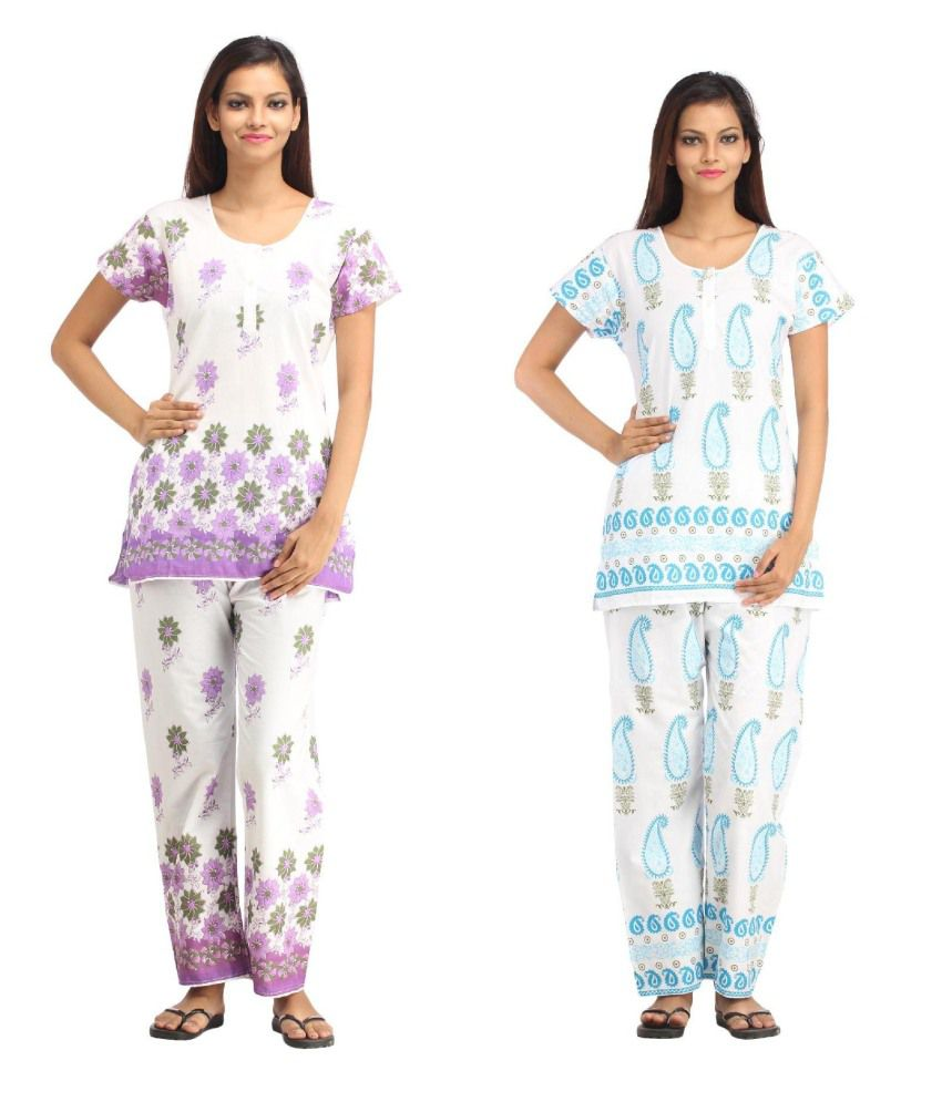 Aasma Multi Color Cotton Nightsuit Sets Pack of 2