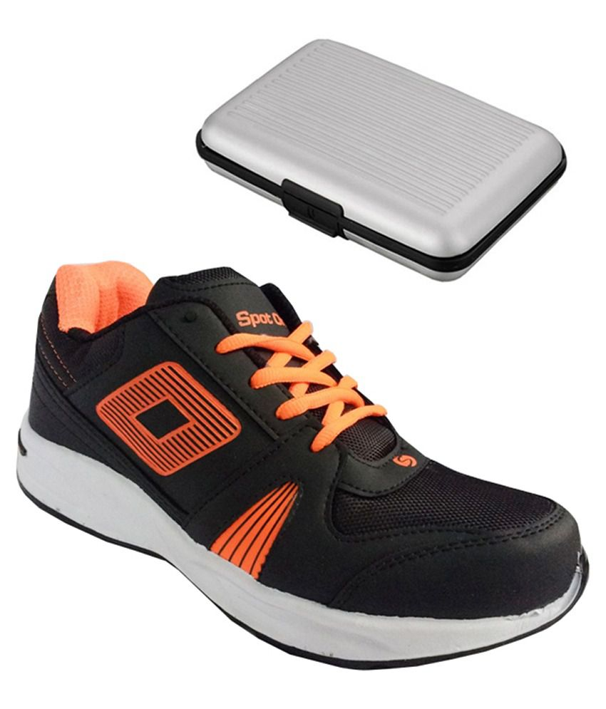 Spot On Black Sport Shoes With Card Holder Combo