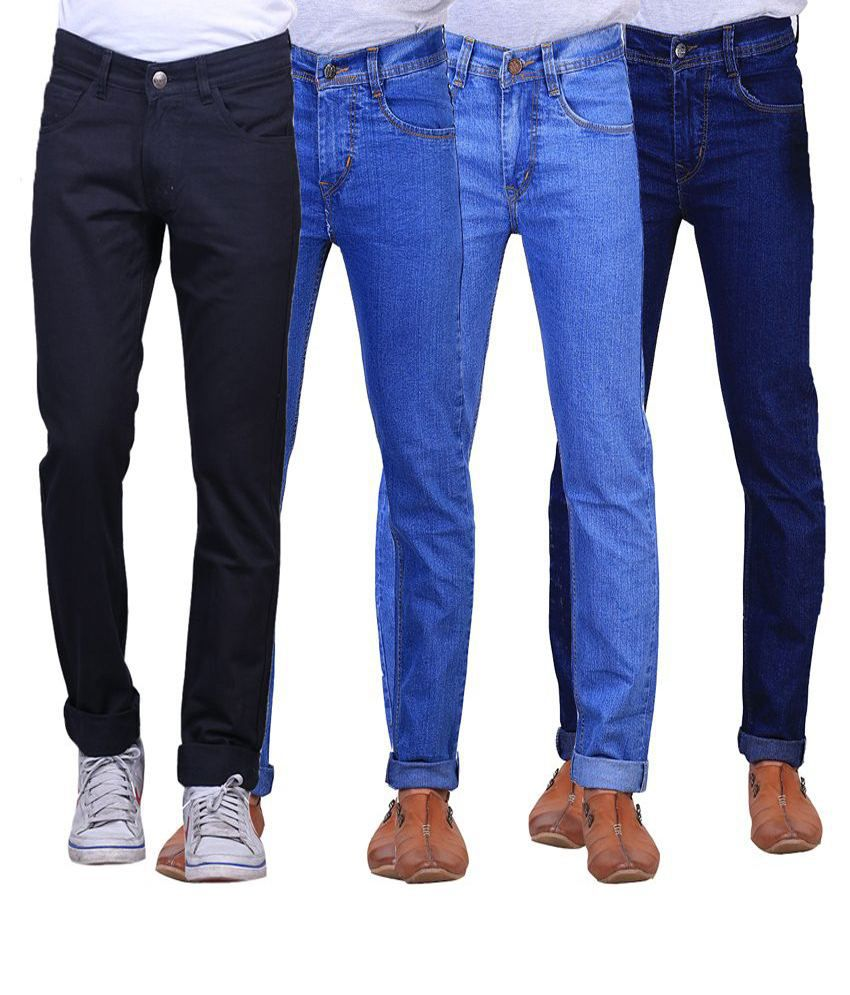 X-Cross Multicolour Slim Fit Jeans Pack Of 4