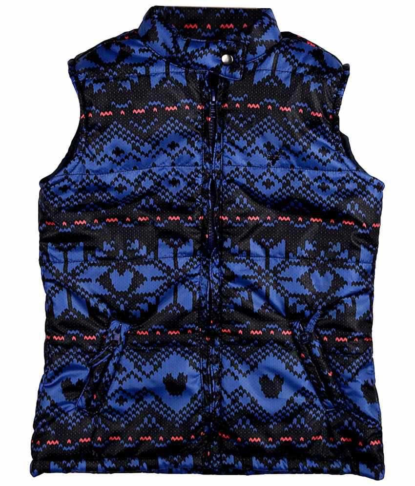 Allen Solly Blue & Black Sleeveless Jacket