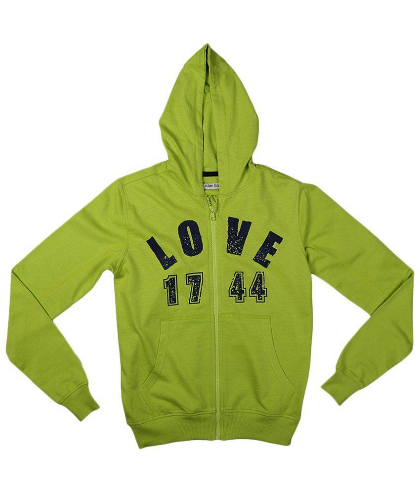 Allen Solly Green & Black Cotton Sweatshirt with Hood