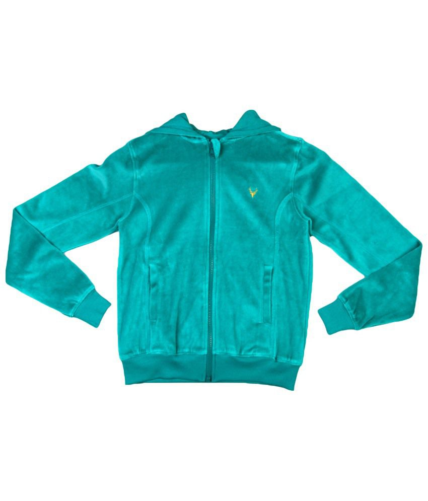Allen Solly Green Cotton Sweatshirt with Hood