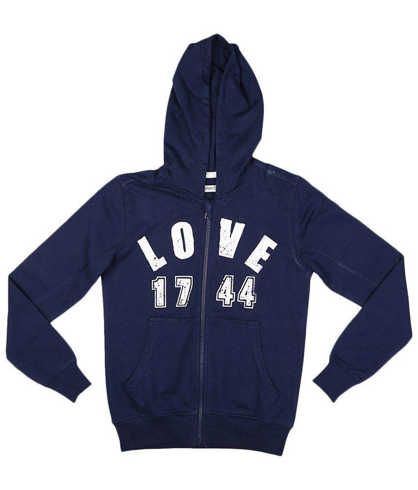 Allen Solly Navy Blue Cotton Sweatshirt with Hood