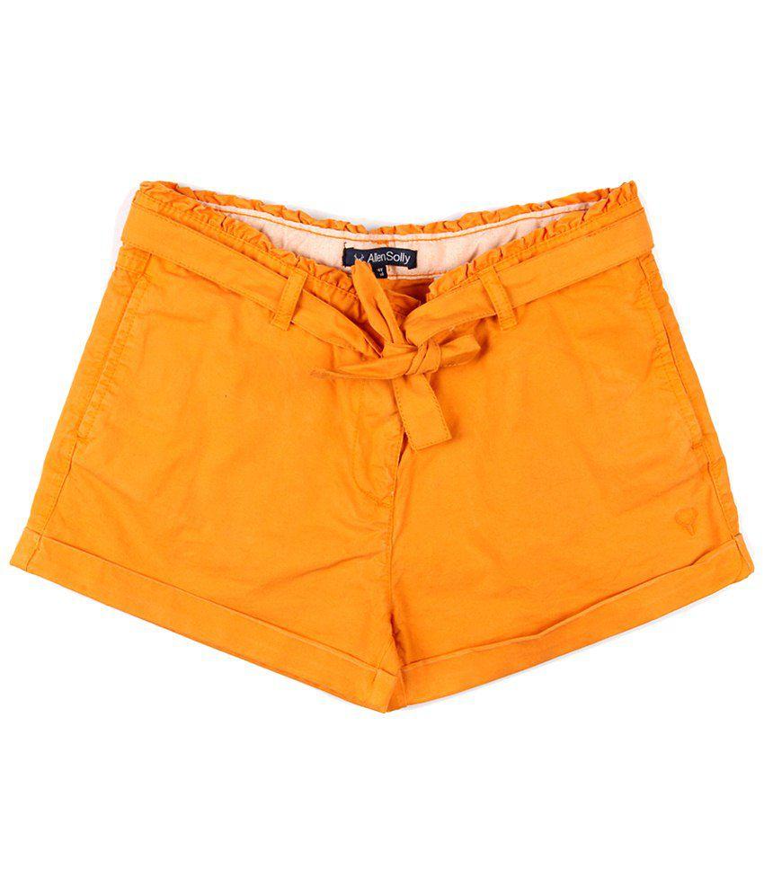 Allen Solly Orange Cotton Shorts