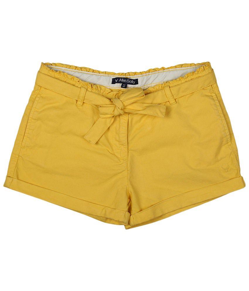 Allen Solly Yellow Cotton Shorts