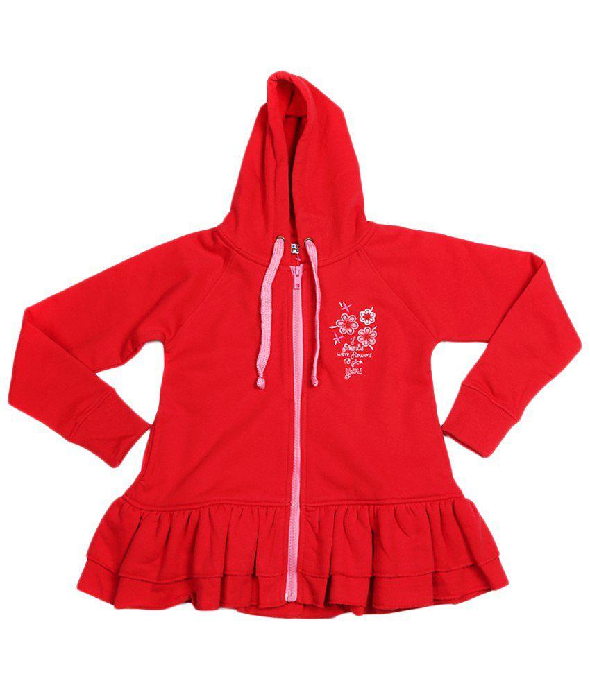 People Red Cotton Sweatshirt with Hood