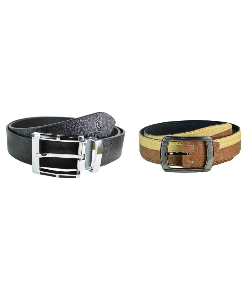 Sizzlers Black And Tan Formal Leather Belt For Men - Pack Of 2