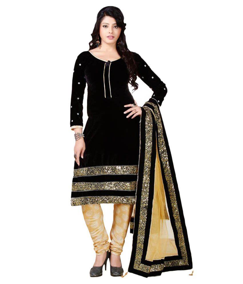 Jay enterprise black net dress material buy jay for Wedding dress material online