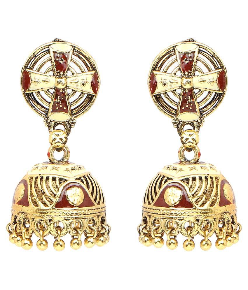 Johareez Golden & Red Brass Jhumki Earrings