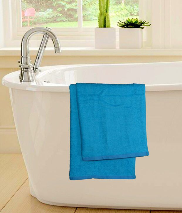 S9home By Seasons Blue Cotton Bath Towel