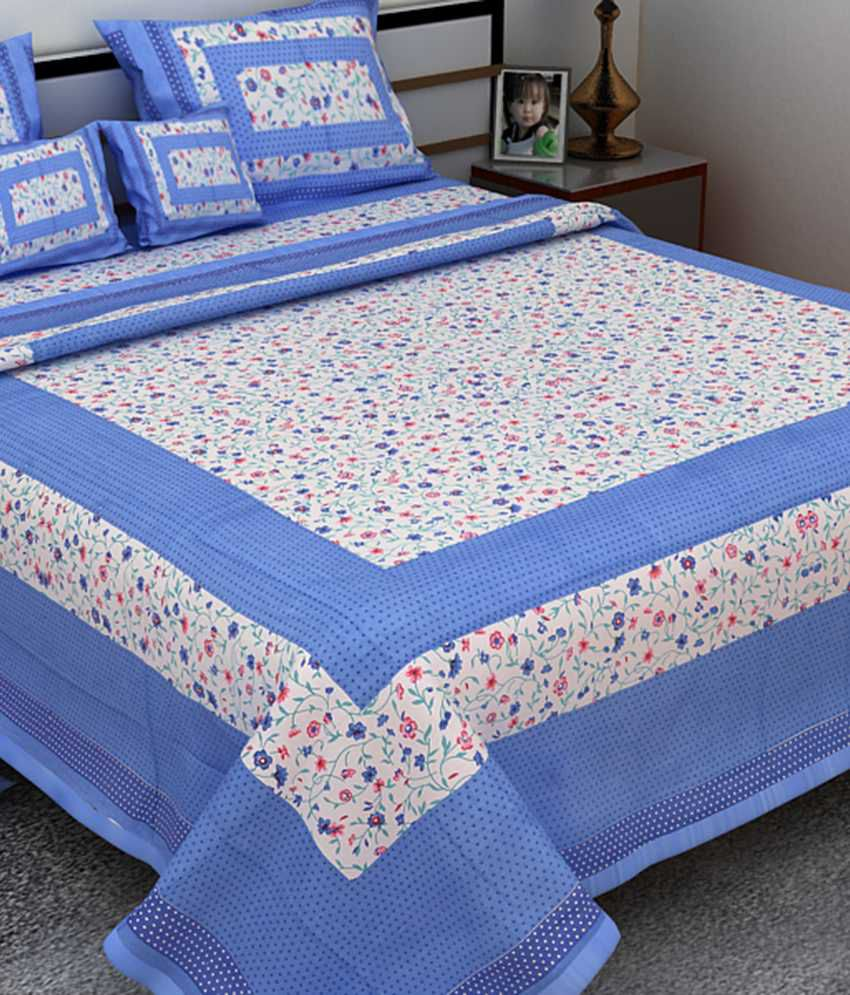 Traditional Bedsheet With Pillow Cover : UniqChoice Pure Cotton Jaipuri & Sanganeri Traditional 1 Double Bed Sheet With 2 Pillow Cover ...