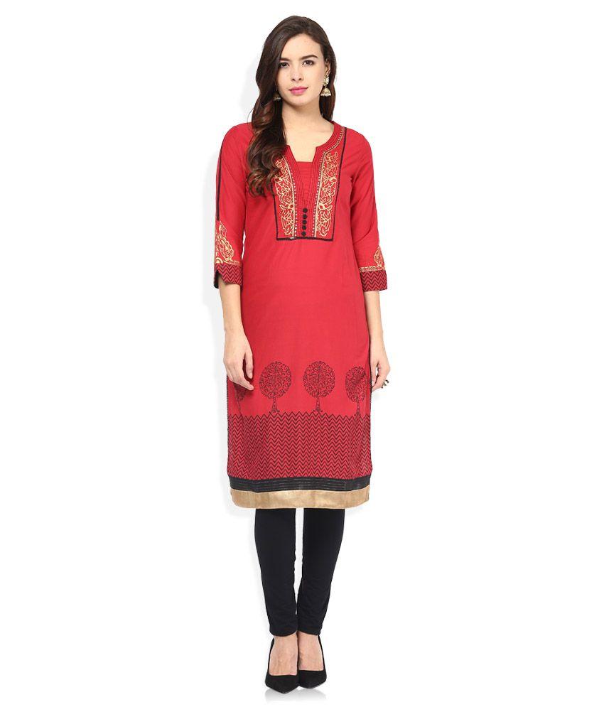 Rangriti Red Cotton Printed Kurti