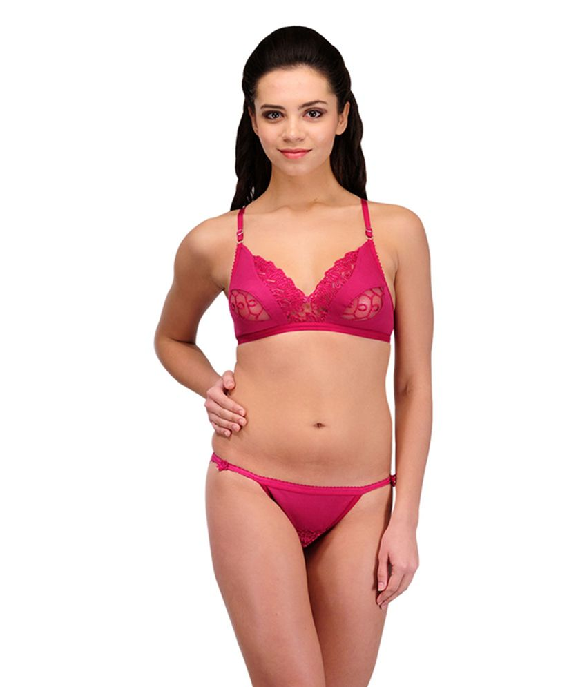 cdbf9fca3 Buy Urbaano Pink Cotton Bridal Bra   Panty Set Online at Best Prices in  India - Snapdeal