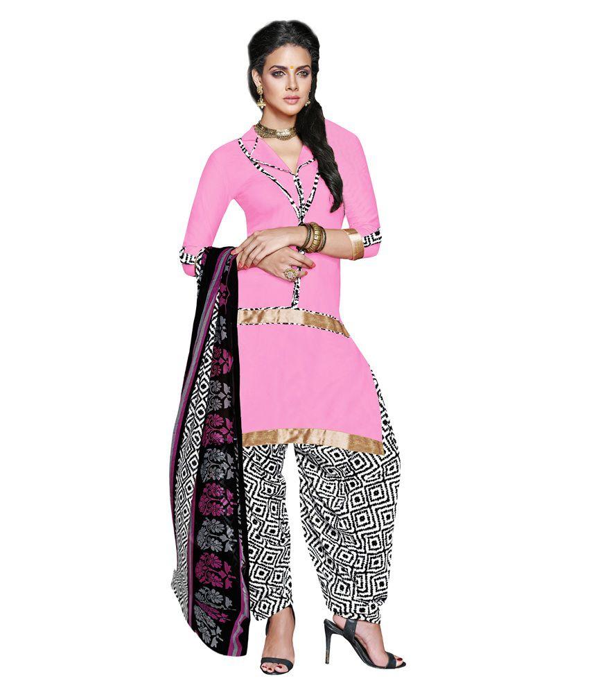 Khushali Pink Art Crepe Unstitched Dress Material