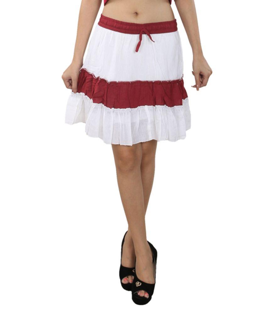Anuze Fashions White Cotton Skirt