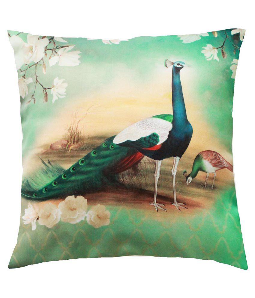 Cult Curio Multicolor Satin Peacock Cushion Cover