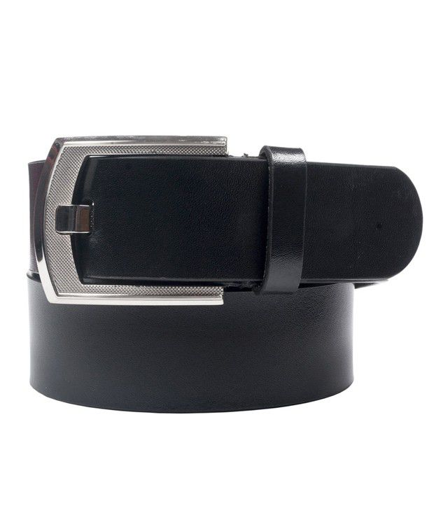 Leather Plus Black Formal Single Belt For Men