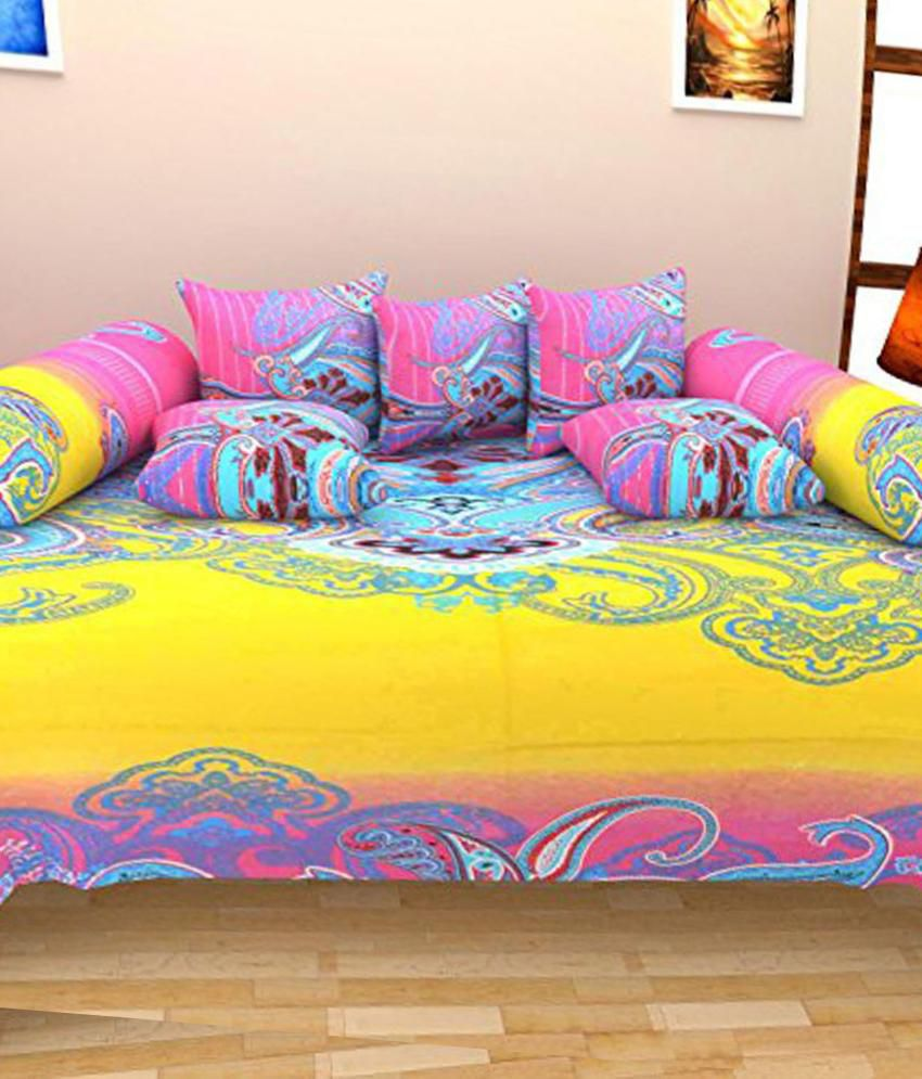Shiv Kirpa Multicolour Printed Cotton Diwan Set - 8 Pieces